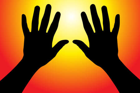 hands in the air: Vector illustration of hands reaching into the air against the sun