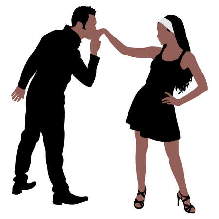 african american couple: Man kissing womans hand, vector Illustration