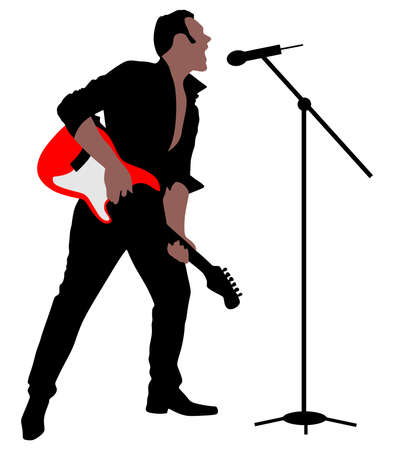 isolation: Man singing with a microphone, vector Illustration