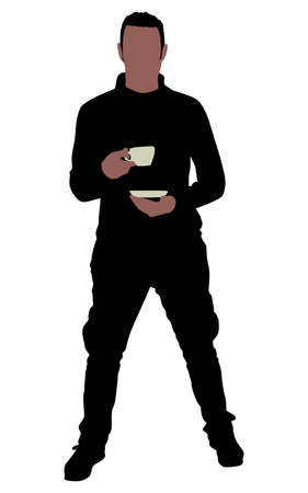 sipping: Young man drinking cup of coffee, vector Illustration