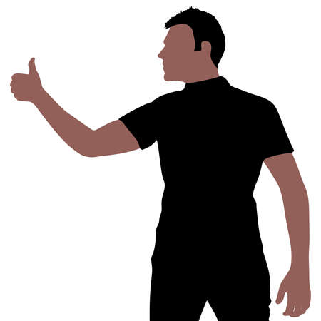 showing: Man showing thumbs UP, vector