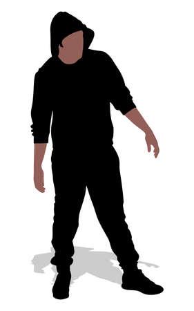 hooligan: fan hooligan wearing a hood, vector