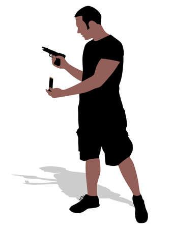 Man with gun, vector