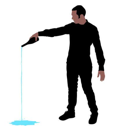 El hombre vertiendo la bebida de una botella, vector