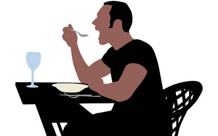 main dishes: man eating, vector Illustration