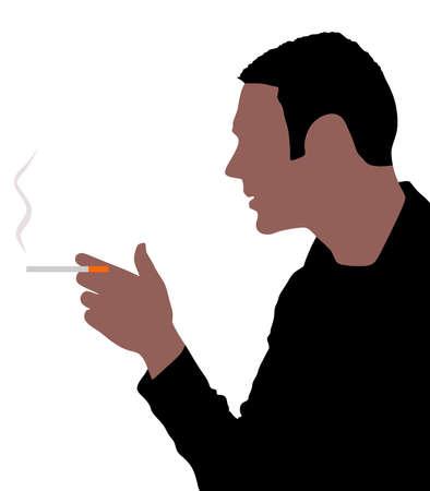 cut away: man smoking cigarette, vector Illustration