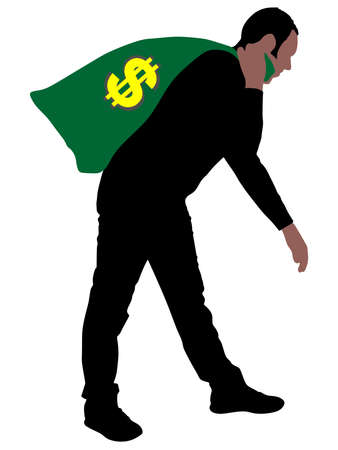 man carrying: Man carrying a money bag with US dollar sign, vector