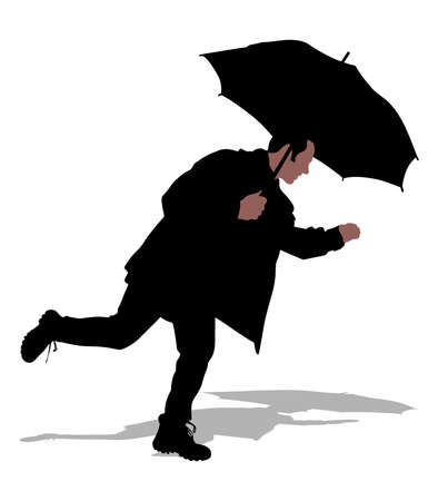 rain coat: Man in jacket holding umbrella and running, vector