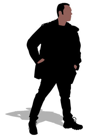 hands on pockets: man in winter clothes with hands in pockets, vector