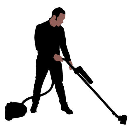 Young man with vacuum cleaner, vector