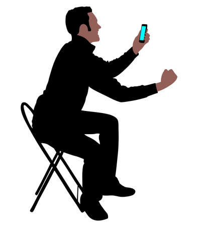 satisfied expression: Happy young man talking on cellphone, vector Illustration