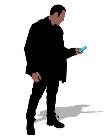 winter clothes: man in winter clothes hold cellphone, vector Illustration
