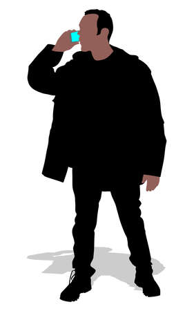 cellphone: man in winter clothes hold cellphone, vector Illustration