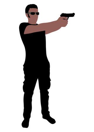 gun man: man holding gun, vector Illustration