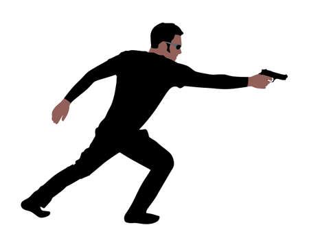 holding gun: man holding gun, vector Illustration
