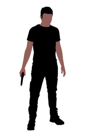 man gun: man holding gun, vector Illustration