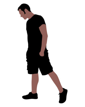 alone man: young man sad walking, vector