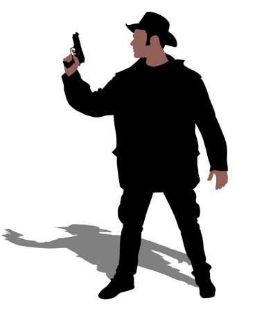Man wearing vintage hat with gun, vector Vektorové ilustrace