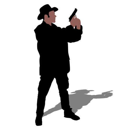 derby hats: Man wearing vintage hat with gun, vector