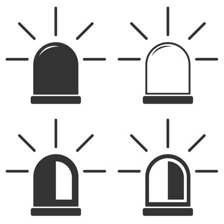 flasher: Siren icon set, vector