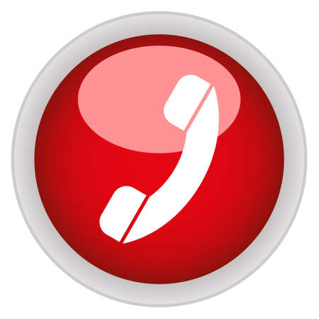 phone button: Phone icon red glossy round button