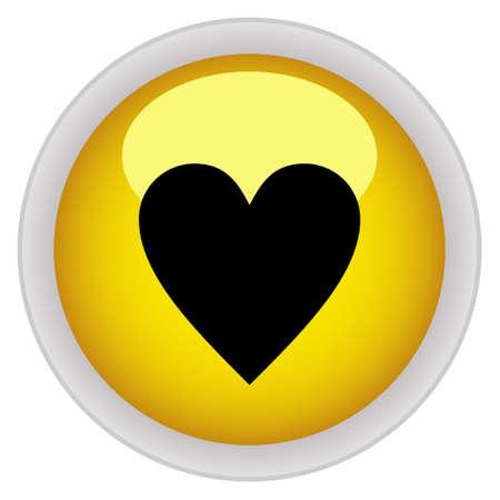 valentin: Heart icon yellow glossy round button Illustration