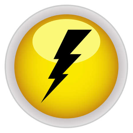 Electricity icon yellow glossy round button