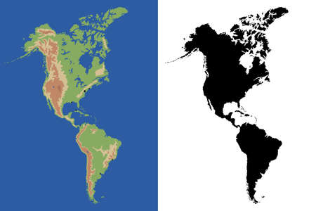 North and South America map, vector Illustration