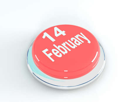 14 february: 14 February red button, 3d illustration