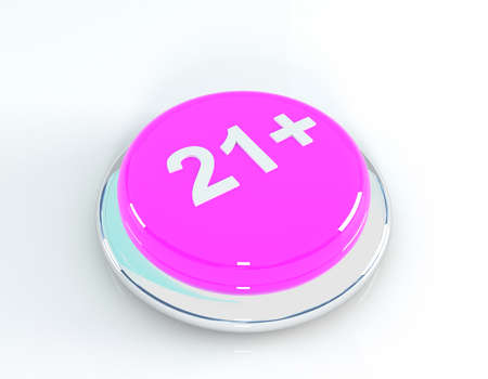 21: 21+ button, 3d illustration Stock Photo