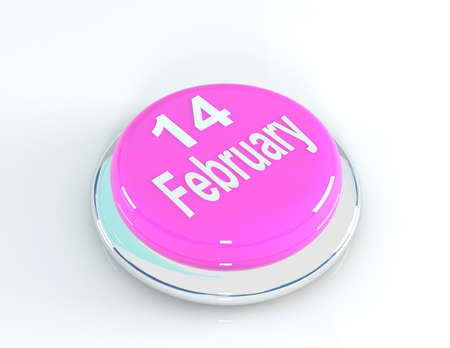 14 of february: 14 February pink button, 3d illustration Stock Photo