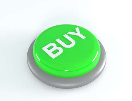 acquire: Green buy button, press push click, 3d illustration Stock Photo