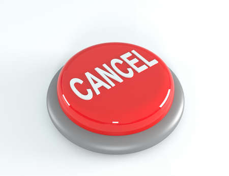 Red cancel button. 3D illustration