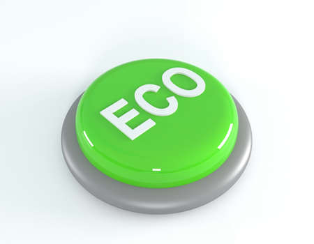 reflection of life: Eco button, 3d illustration