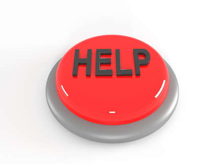 help button: help button, 3d illustration Stock Photo