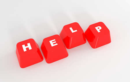 computer help: Computer Help keyboard keys on isolated white background Stock Photo