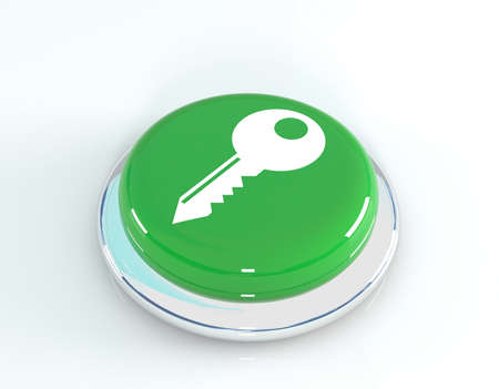 insecure: Key icon glossy round button, 3d illustration