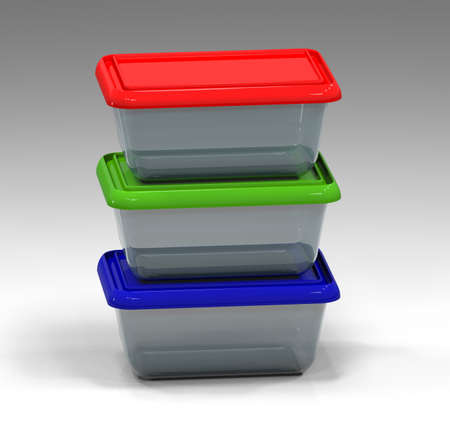 kitchen ware: 3d illustration of plastic containers isolated