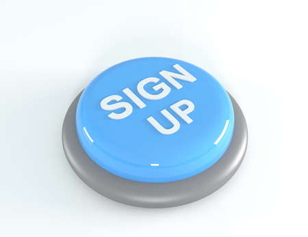 sign up button: Blue Sign up button, 3D illustration.