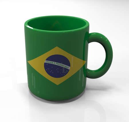 souvenir: Brazil flag souvenir mug isolated, 3d illustration