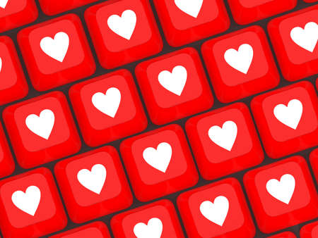 office romance: Computer keyboard with love key, 3d illustration Stock Photo