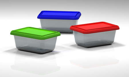 stockpot: 3d illustration of plastic containers isolated