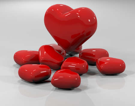 reflections: 3d illustration of red heart with glossy reflections