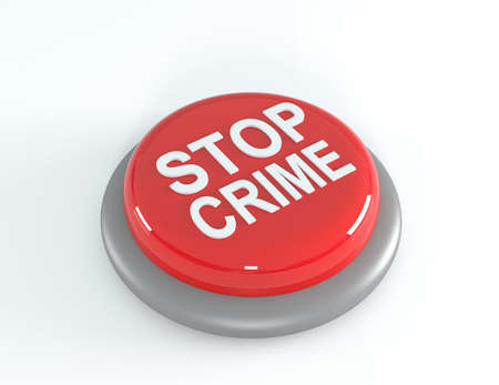 breaking law: Stop crime concept, red STOP crime button, 3d illustration
