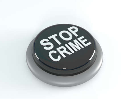 intimidating: Stop crime concept, black STOP crime button, 3d illustration Stock Photo