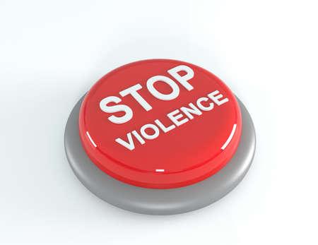 victim war: Red stop violence button, 3d illustration