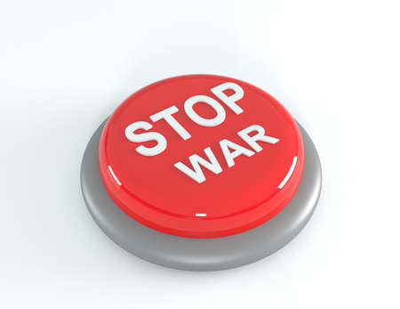 round button: Red STOP WAR button, 3d illustration Stock Photo