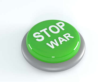 warning against a white background: Green STOP WAR button, 3d illustration