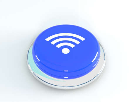 crossover: Wifi signal network icon blue glossy round button, 3d illustration3d illustration