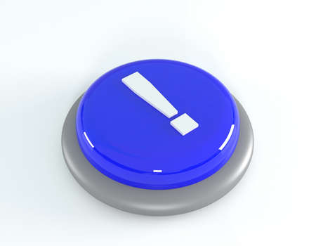 blue button: Blue button with exclamation mark, 3d illustration